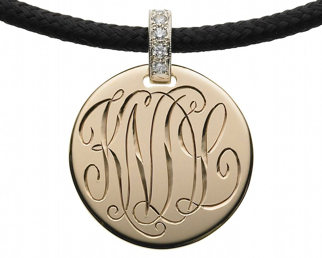 The Initially Collection Gold Disc with Shadow Cut Interlocking Script