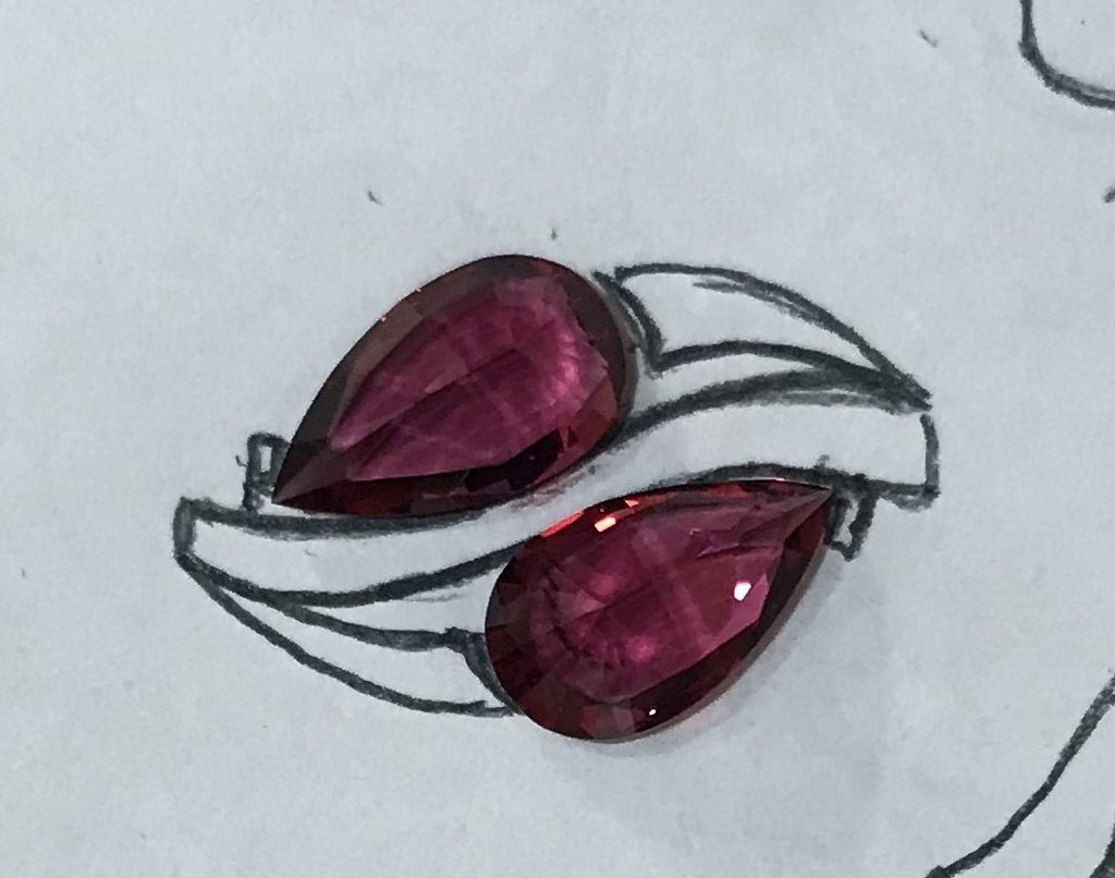 Red Spinel and Diamond Ring Initial Concept Drawing
