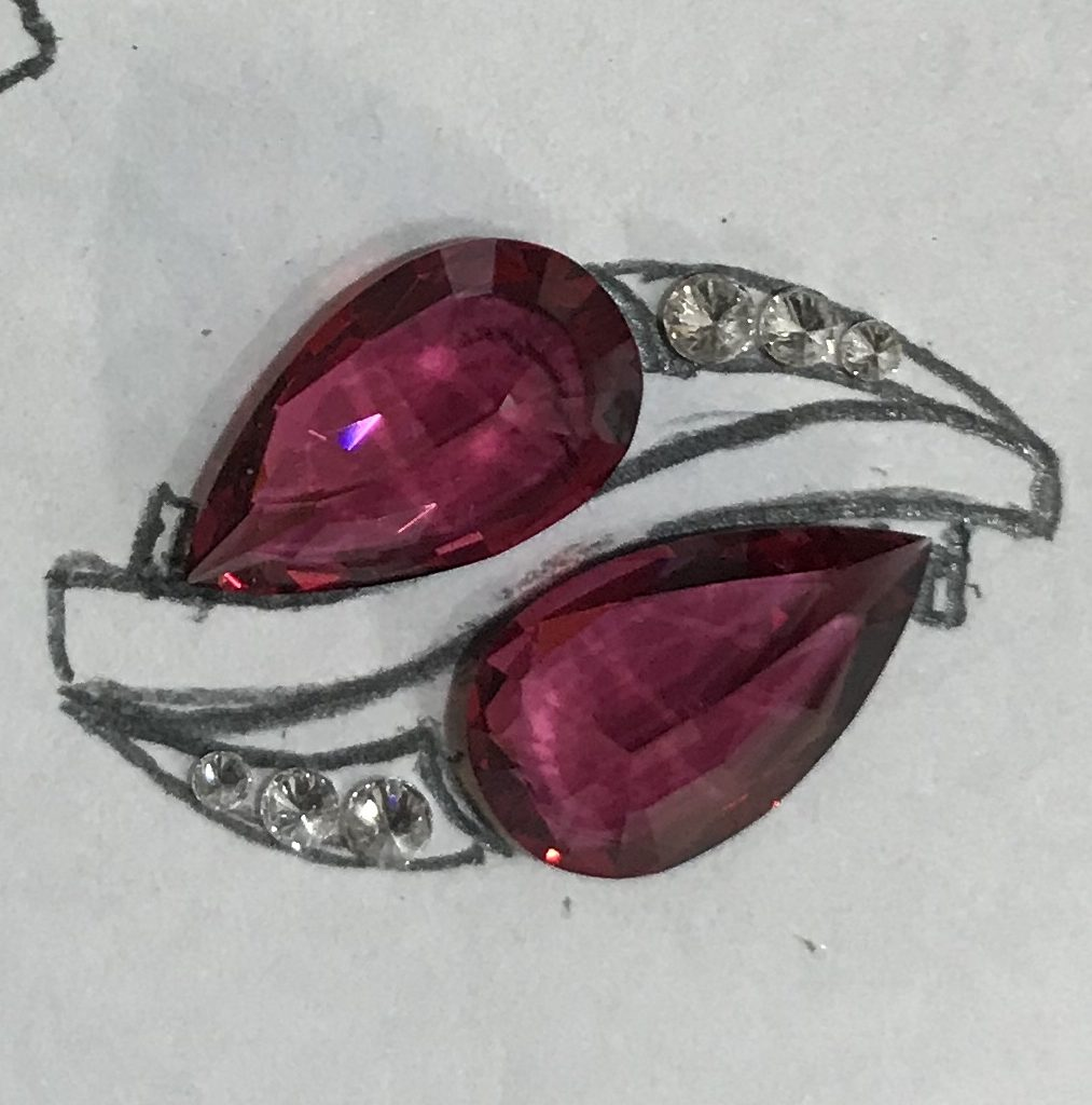 Burmese Red Pear-shaped Spinel and Diamond Ring concept
