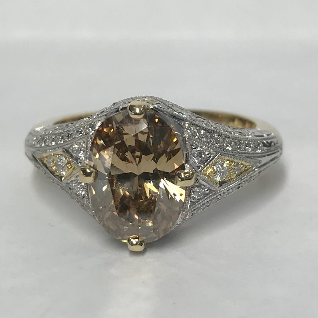 Cognac Diamond & Filigree white diamond set Ring with yellow gold inlays top view